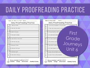 Daily Proofreading Practice Unit 6 First Grade Journeys -
