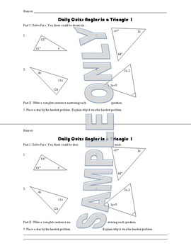 Daily Quiz: Angles in a Triangle I