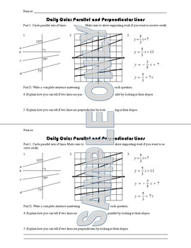 Daily Quiz: Parallel and Perpendicular Lines