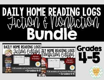 Daily Reading Logs for Fiction & Non-Fiction - 36 Weeks of