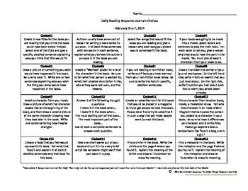 Daily Reading Response Journal Ideas Sheet 3