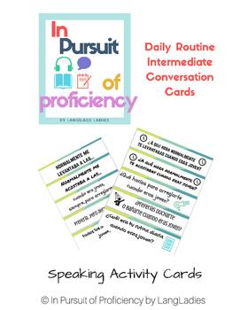 Daily Routine (rutina diara) Intermediate Conversation Cards