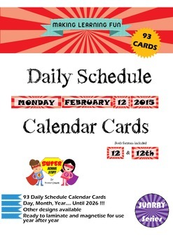 Daily Schedule Calendar Cards-93pc-Sunray-Red