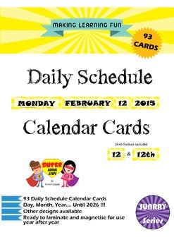 Daily Schedule Calendar Cards-93pc-Sunray-Yellow