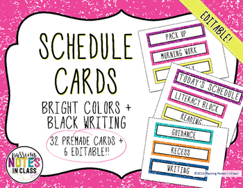 Daily Schedule Cards | Bright Colors (EDITABLE)