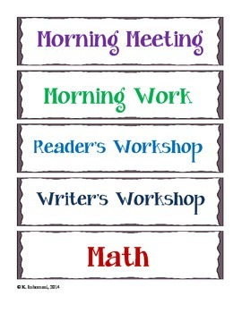 Daily Schedule Cards - Classroom Management