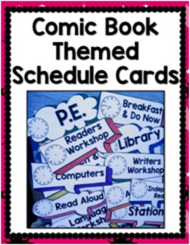 Daily Schedule Cards {Comic Book/ Superhero Themed}