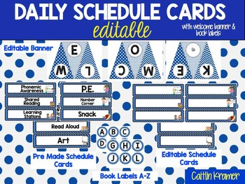 Daily Schedule Cards and Welcome Banner {Editable} Blue