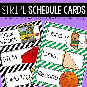 Schedule Cards {Elementary}: Stripes