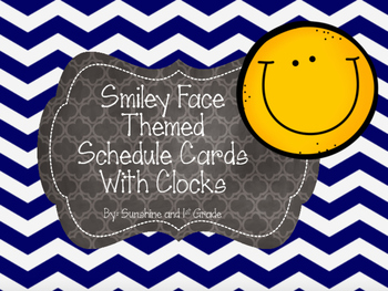 Daily Schedule Cards Smiley Face Theme with Clocks