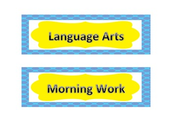 Daily Schedule Cards Yellow and Blue