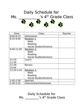 Daily Schedule for students