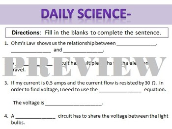 Daily Science- Electricity- Fill in the Blanks