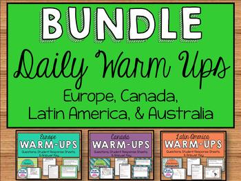 Daily Social Studies Warm-Ups BUNDLE -- Australia, Canada,