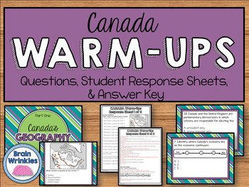 Daily Social Studies Warm-Ups (or Study Guide) -- Canada