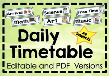 Daily Timetable Display Cards - Classroom Management - PDF