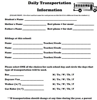 Primary Grades Daily Transportation Form