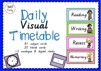 Daily Visual Timetable Schedule Victorian Cursive Font