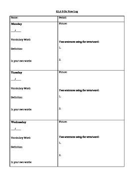 Daily Vocabulary Log