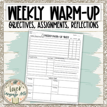Daily Warm-Up Sheet with objectives and reflection