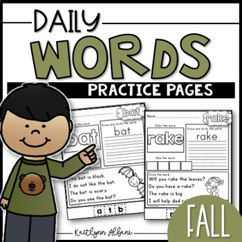 Daily Word Practice Pages - Fall