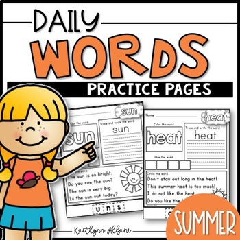 Daily Word Practice Pages - Summer