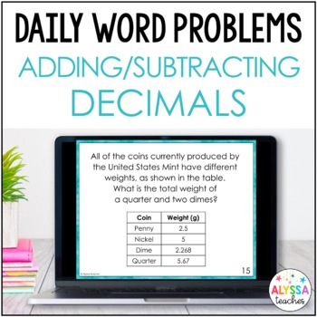 Daily Word Problems: Decimal Addition & Subtraction (SOL 4