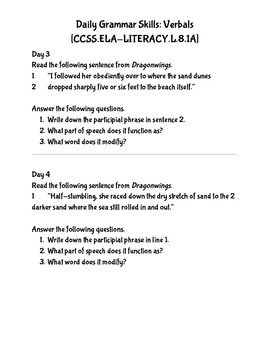 Daily Work for Participial Phrases CCSS.ELA.Literacy.L.8.1.A