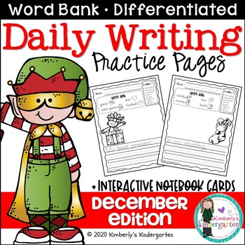 Daily Writing Journal Pages for Beginning Writers: Decembe