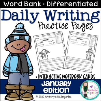 Daily Writing Journal Pages for Beginning Writers: January