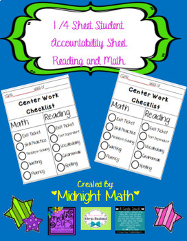 Daily and Weekly Student Accountability Checklist for Read