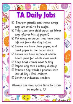 Daily jobs poster for classroom assistants