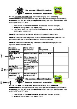 Daily routine speaking preparation sheet