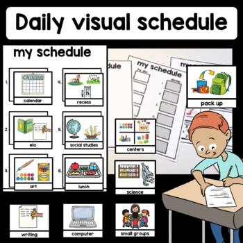 Daily visual schedule classroom. Autism, auditory processi
