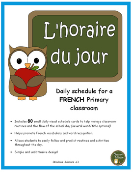 FRENCH schedule cards - Horaire du jour / Menu du jour (da