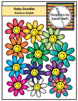 Daisy Doodles - Rainbow Brights - Flower Clipart