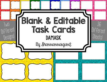 Damask Blank Task Cards (Basic Colors)