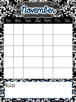 Damask Calendar Set