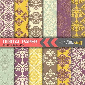 Damask Digital Paper Backgrounds, Purple & Yellow