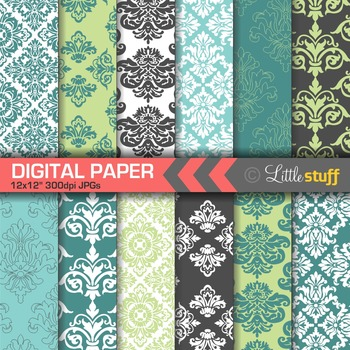 Damask Digital Paper Backgrounds, Turquoise, Green and Pea