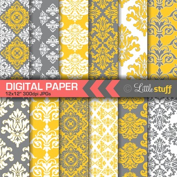 Damask Digital Paper Backgrounds, Yellow and Gray