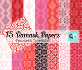 Damask Digital Papers, Valentine Papers