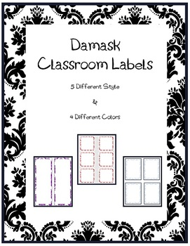 Damask Label Pack -  4 Colors and 5 Different Styles