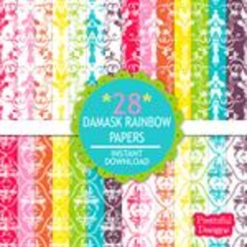 Damask Rainbow Paper Pack