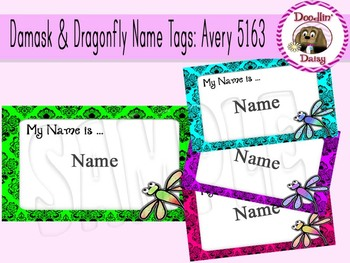 Damask and Dragonfly Name Tags: Avery 5163 (10 per page)