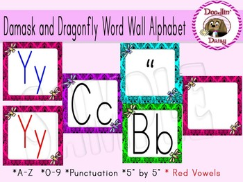 Damask and Dragonfly Word Wall Alphabet
