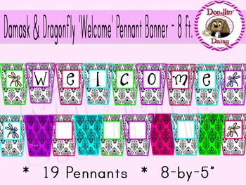 Damask and Dragonfly 'Welcome' Pennant Banner - 8 ft.