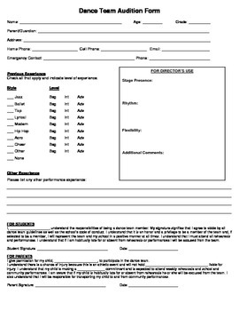 Dance Team Audition Application