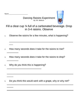 Dancing Raisins Experiment Form