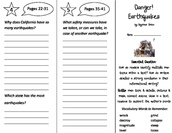 Danger! Earthquakes! Trifold - ReadyGen 2016 2nd Grade Uni
